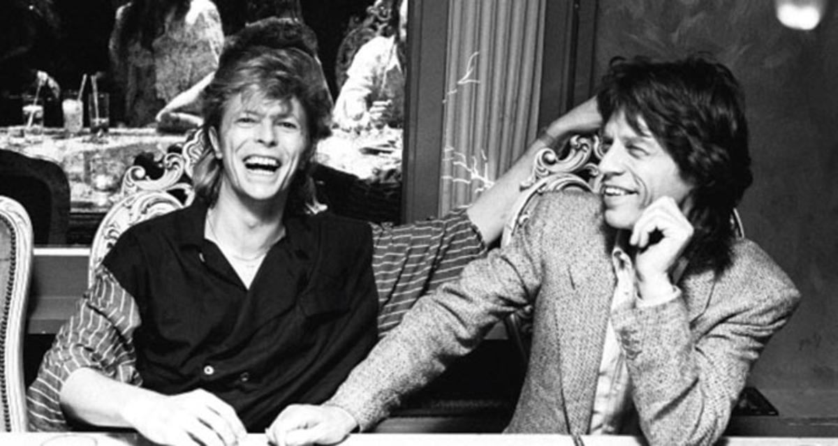 David Bowie (left) and Mick Jagger, London, 1987. (Photo by Denis O'Regan/Getty Images)